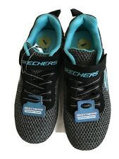 skechers Memory foam girls' sneakers size 1 M black and green