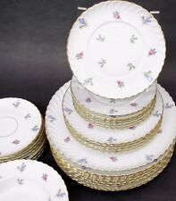 Set of 6 Royal Tettau Dresden Flowers Gold Trim Pink Roses Bread Plates 6 1/2""