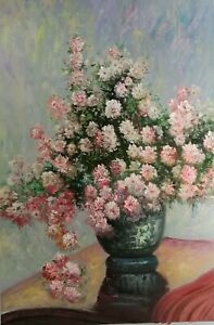 Oil painting beautiful spring flowers in vase still life hand painted art canvas