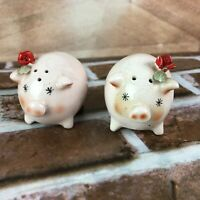 Victoria Ceramics Vintage salt and pepper shakers pig with rose flowers Japan