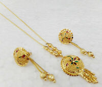 Bollywood Fashion Jewelry Indian Ethnic Gold Plated Pendant 22k Earrings Set p10