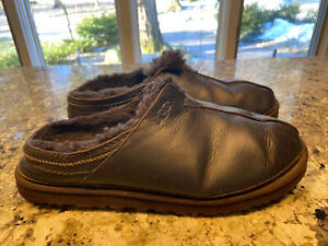 UGG Neuman Leather With Shearling Lining Brown Slippers Mens Size 12 EU 45.5