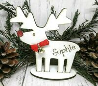 Personalised Wooden Christmas Reindeer With Bell Name Gift Bow