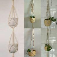 Retro Flower Pot Hanging Rope Garden Plant Basket Hanging Planter Holder Hanger