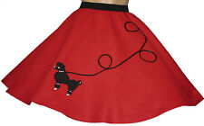 4 PC RED 50's Poodle Skirt Youth Ages 10/11/12 Size large Length  23""
