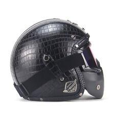 Black Motorcycle Helmets 3/4 Open Helmet PU Leather + Goggle Mask Vintage Style
