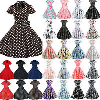 Ladies Retro 50s Rockabilly Pinup Short Sleeve Swing Dress Housewife Tea Dresses