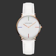 Women's Quartz Wrist Watch White Dial Leather Strap Girls Lady Fashion Dress