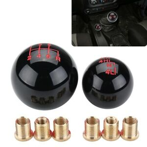 2X Black Ball Style 6 Speed + Transfer Case Shift Knob For Jeep Wrangler JK