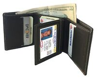 Black Handcrafted Cowhide Leather Men's Trifold Premium Wallet Gift Box