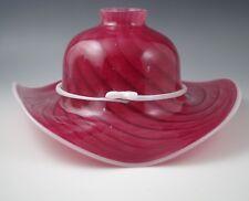 MURANO GLASS ITALY  -LARGE FLOPPY HAT SHAPED LAMP SHADE -RED SWIRL