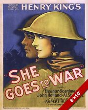WWI SHE GOES TO WAR MOVIE PROPAGANDA POSTER PAINTING REAL CANVAS ART PRINT