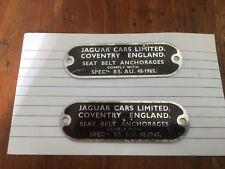 JAGUAR XKE ORIGINAL UNUSED METAL TAG SIE 1965-67 DECAL SEAT BELT ANCHORAGe TAG