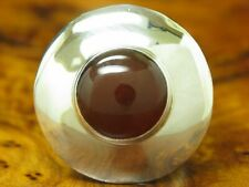 925 Sterling Silver Ring With Carnelian Decorations / Real Silver/0.3oz / Rg 55