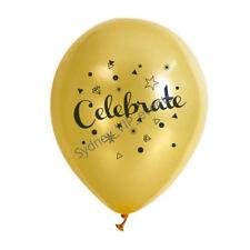 10x Celebrate Print Balloon 30cm Party Gold Star Black Gruducation Anniversary