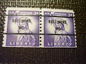 Better Bureau Precancel 3 cent Maryland Purple Coil Pair #1035   Nice Cancel