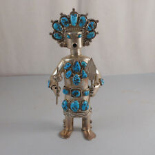 NEL EUSTACE - MUSEUM QUALITY VINTAGE STERLING SILVER & TURQUOISE KACHINA DOLL
