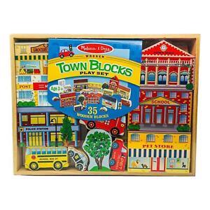 Melissa & Doug Wooden Town Blocks Play Set W/ Storage Tray 35 Pieces New Sealed!