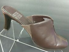 Mootsies Tootsies Womens Brown Leather Open Back Mules Heels 9.5 M
