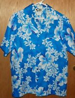 Vintage Hilo Hattie Floral Hawaiian Shirt Large Aloha Blue White Hibiscus SS