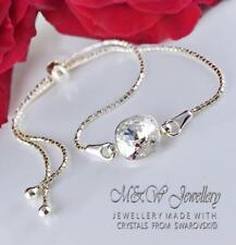 Pulsera de plata esterlina 925 cristales de Swarovski ® Elegante Cristal De Piedra F 10MM