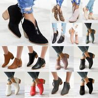 Womens Ankle Boots Low Chunky Block Mid Heels Pointed Toe Slip On Casual Shoes