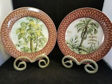 I Godinger & Co Palm Tree Plates with stands