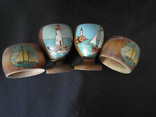 WOODEN HAND PAINTED EGG CUPS & SERVIETTE RINGS