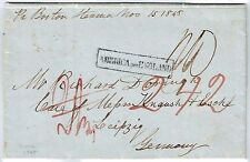 TRANSATLANTIC 1848 STAMPLESS COVER FROM US TO GERMANY BOXED AMERICA PER ENGLAND