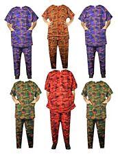 Men's African Clothing Traditional Kente Pant Suit Dashiki Ethnic Set Free Size