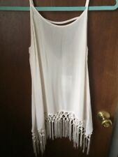 Rare H&M Divided Womens Gorgeous Cover Up Top Tank Silky Macrame Fringe