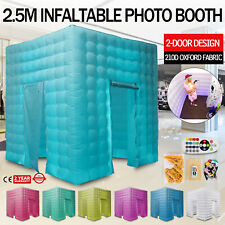 2.5M 2 Doors Inflatable LED Light Photo Booth Air Tent Wedding Party + Control