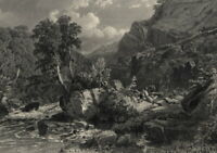 Lyn River Fishing Landscape North Devon England UK - 1870 Engraved Nature View