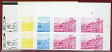 Gibraltar #1341-45, Imperf Color Proofs, Block of 4, Old Views, Architecture