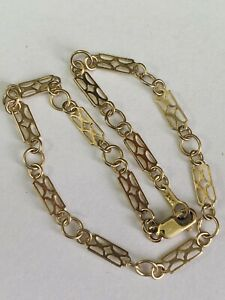DELICATE 9CT YELLOW GOLD FANCY LINK LADIES BRACELET - 7.75 INCHES