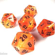 Set of 5 D20 Chessex Dice RPG D&D - Vortex Orange w/ Black #s - 20 sided