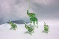 MINIATURE FIGURINES Blown Glass Set (4) Vintage Collectible Green Elephants
