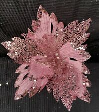 3 x Pink Christmas Poinsettia Picks Decoration Tree Clips Wreath decoration 30cm