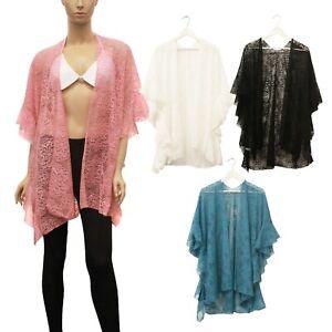 Women's Cover Up Kimono Cardigan Lace Fishnet Crochet Summer Beach Robe Swimwear