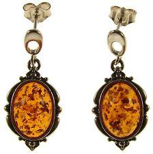 Orecchini di lusso con gemme gancetti in argento sterling ambra