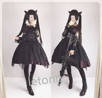 Lady Gothic Lolita Dress Victorian Lace Ruffle Puff Sleeve Dolly Skirt with Belt