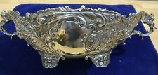 Antique German 800 Silver Repousse Centerpiece Bowl Cherub Handle Medusa Footed