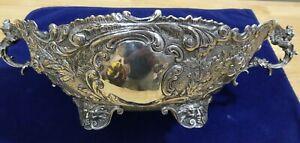 Antique German 800 Silver Repousse Centerpiece Bowl Cherub Handle Medusa Footed