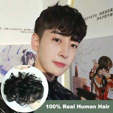 Man Short Wig Real Human Hair Bald Replacement Block Curls Fluffy for Men Male