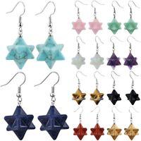 Merkaba Star Hook Earring Natural Crystal Gems Dangle/Drop Earring Charm Jewelry