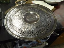 PS CO Sheffield Hand Hammered Silverplate Footed Tray 8541 10 1/4""