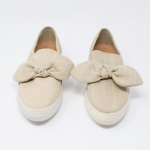 Skechers Women Size 9 M Tan Canvas Flats With Bow Accents