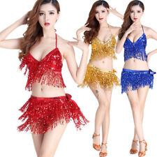 Sexy top belly Dance Top Sequins Tassel Fringe Hip Scarf Belt Waist Wrap Skirt