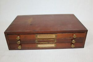 Watchmakers Vintage Wood Parts Cabinet w/ NOS Gold Filled Crowns Stems