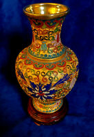 "7"" Tall Vintage Chinese Cloisonné Enamel Brass Vase with Handcrafted Design"